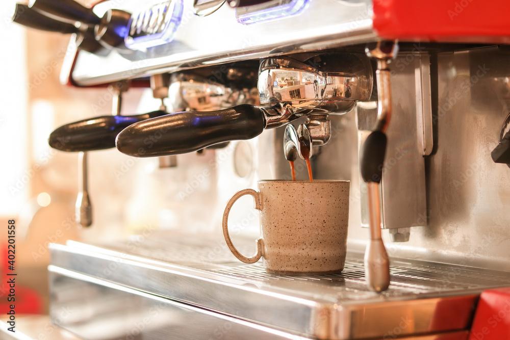 Fototapeta Máquina de café, espesso, cafeteria. Close up
