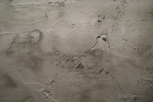 The Texture Of The Wall With Roughly Applied Cement Gray Plaster. The Primary Texture Of The Plastered Walls