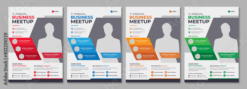 Fototapeta Corporate annual conference or meetup promotion flyer template