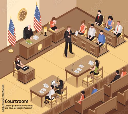 Photo Courtroom Isometric Illustration