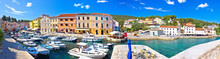 Island Of Losinj. Veli Losinj Harbor And Colorful Architecture Panoramic View