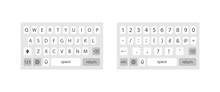 Modern Smartphone Keyboard . Mobile Keyboard. Keyboard Of Smartphone, Alphabet And Numbers Buttons. Mobile Phone Keypad Vector Mock-up. Compact Virtual Key Board For Mobile Device. Vector
