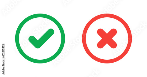 Fototapeta Green check mark and red cross icon.Set of simple icons in flat style: Yes/No, Approved/Disapproved, Accepted/Rejected, Right/Wrong, Correct/False, Green/Red, Ok/Not Ok. Vector illustration obraz