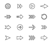 Arrow Vector Icon Set In Thin Line Style.Collection Vector Arrows Icon Set For Media Controls And Pointers Collection On White Background. Vector Illustration