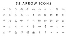 Fifty Five Arrow Vector Icon Set In Thin Line Style.Collection Vector Arrows Icon Set For Media Controls And Pointers Collection On White Background. Vector Illustration