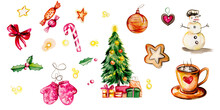 New Year Set With Traditional Elements (cookie, Gifts, Stars, Winter Clothes, Christmas Tree, Candy) Isolated On White Background. Watercolor Illustration. Isolater Pictures