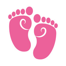 Pink Baby Footprints Icon, Colorful Design