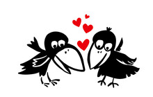 Two Funny Crows Are In Love. Cartoon Valentine. Vector Illustration