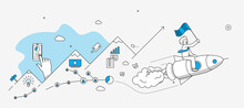 Startup Company Milestones Infographics. Businessman Flying On The Rocket With Flag. Modern Illustration In Linear Style.