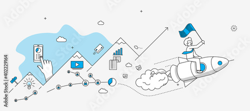 Fotografie, Obraz Startup company milestones infographics
