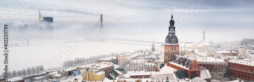 Fotografie, Obraz Panoramic aerial view of the Riga old town and Daugava river from St