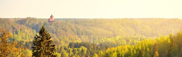 Green spring forest and towers of Turaida castle in Gauja national park at sunrise. Panoramic aerial view. Sigulda, Latvia. Seasons, ecology, environmental conservation, ecotourism, pure nature