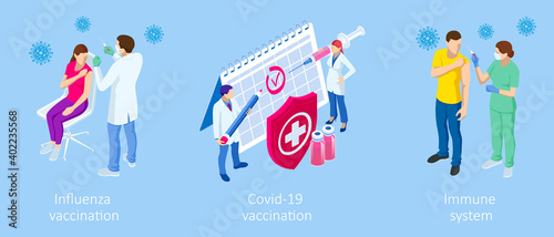 Isometric Vaccination and Immunization, Time to vaccinate, Online medical advise, medical prescription concept Fototapete