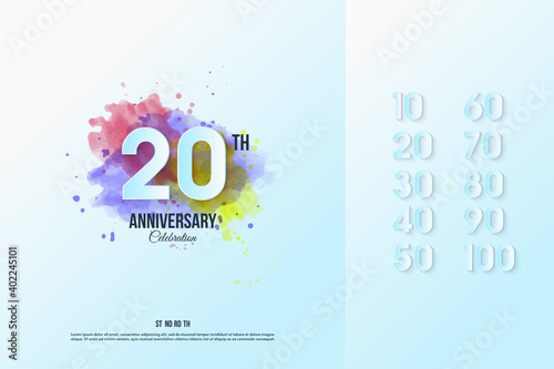 Anniversary set number with water color illustration. Tapéta, Fotótapéta