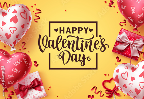 Valentines day vector background. Happy valentines day greeting text with colorful balloon heart patterns, gifts and confetti elements in yellow background. Vector Illustration.