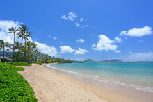 The Quiet And Usually Uncrowded Kahala Beach Area In Honolulu On Oahu, Hawaii.