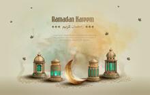 Islamic Greetings Ramadan Kareem Card Design Template Background With Beautiful Lanterns And Crescent