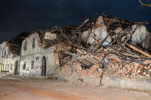 Strong Earthquake Hit Croatia. Damaged Buildings In Petrinja. Ruined Buildings Damaged By An Earthquake.