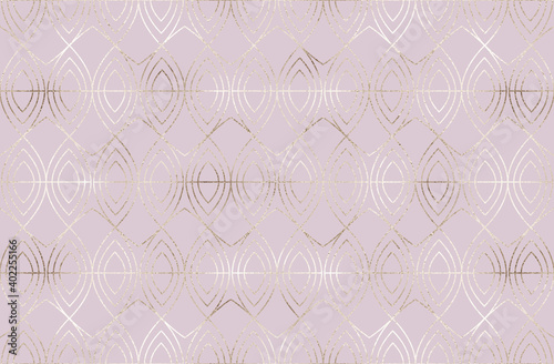 Gold geometric seamless pattern with glitter oval tiles. Wallpaper Mural