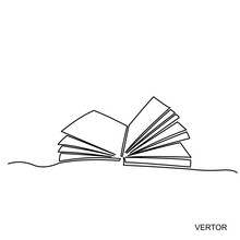 Vector Design.Continuous One Line Drawing Open Book With Flying Pages. Vector Illustration Education Supplies Back To School Theme.