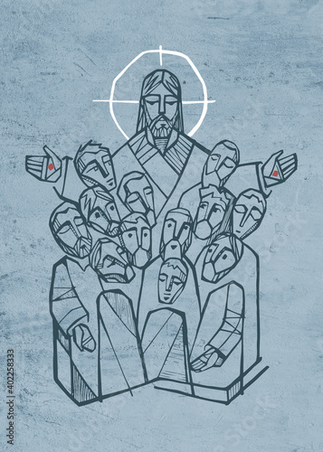 Jesus Christ with disciples Wallpaper Mural