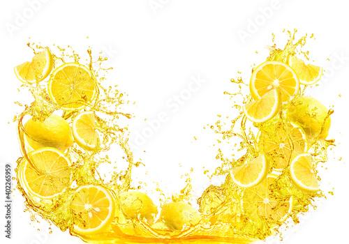 Fotografia, Obraz splash of lemon slice