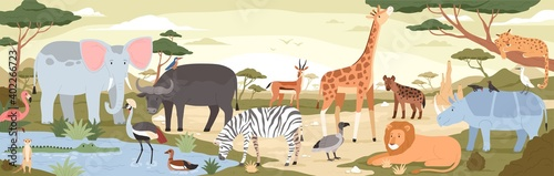 Fototapeta premium Natural landscape with savannah animals, reptiles and birds. Panoramic scenery with wild habitant. Exotic savanna inhabitants in african national park. Vector illustration in flat cartoon style