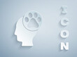 Paper cut Human head with animals footprint icon isolated on grey background. Pet paw in heart. Love to the animals. Paper art style. Vector.