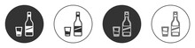 Black Bottle Of Vodka With Glass Icon Isolated On White Background. Circle Button. Vector.