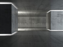 Abstract Empty Concrete Interior Background, Dark Room