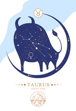 Modern Magic Witchcraft Card With Astrology Taurus Zodiac Sign. Zodiac Characteristic