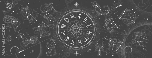 Valokuvatapetti Astrology wheel with zodiac signs on constellation map background