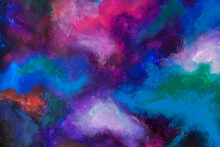 Abstract Multicolored Oil Smears Painting On Canvas Background Texture. Brushstrokes Of Paint. Colorful Artistic 3d Background