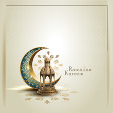 Islamic Greeetings Ramadan Kareem Card Design With Lanterns And Crescent