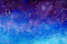 Night Sky With Stars Painting. Watercolor Art