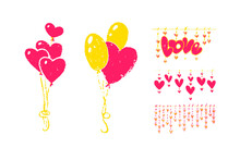 Valentine's Day Vector Postcard With Pencil Effect