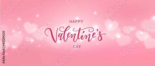 Fotografie, Obraz Happy Valentine's day text, hand lettering typography poster with hearts