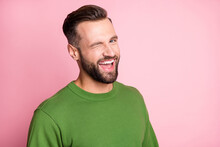 Close-up Portrait Of Attractive Cheerful Glad Content Guy Winking You Isolated Over Pink Pastel Color Background