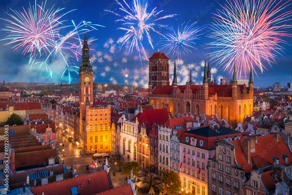 Fototapeta Fireworks display over the old town in Gdansk, Poland