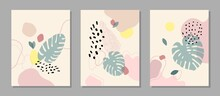 Contemporary Art Print. Vector Hand Drawn Artwork. Trendy 50s, 60s Retro, Vintage. Matisse Style. Hugge Home, House Decor. Set Collection. Beige, Black, Pink, Green, Yellow Soft Colors. Minimalism