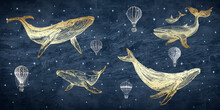 Photo Wallpaper Golden Whale On The Background Of Space