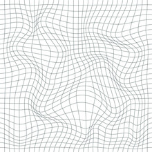 Distorted Grid Pattern. Vector. Technology, Science, Game Background. Black And White. Monochrome. Banner, Wallpaper, Print.