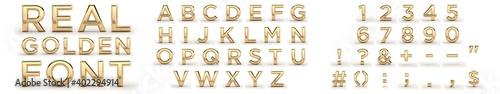 Fotografie, Obraz Golden font 3d, all letters, numbers, punctuation marks