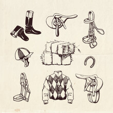 Equestrian Collection Of Hand Drawn Horse Racing Equipment