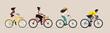 People wearing medical mask riding a bicycle set