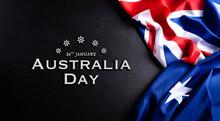 Australia Day Concept. Australian Flag Against A Blackboard Background. 26 January.