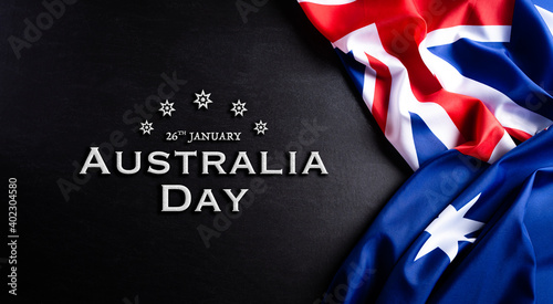 Fototapeta Australia day concept. Australian flag against a blackboard background. 26 January. obraz