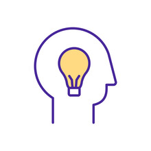 Creative Idea RGB Color Icon. Human Creativity Improvement. Inventing Something New. Brainstorming During All Day. Process Of Somehow Valuable Is Formed. Isolated Vector Illustration