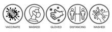 Coronavirus Prevention Measures. Quarantine Concept For Poster, Flyer. Vaccinate, Masked, Gloved, Distancing, Wash Hands. Vector Icons Pictogram