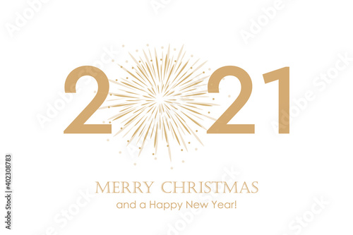 Obraz happy new year 2021 typography with fireworks vector illustration EPS10 - fototapety do salonu